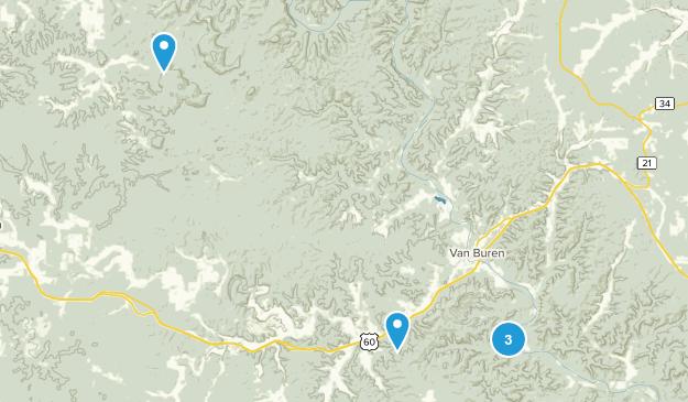 Van Buren, Missouri Nature Trips Map