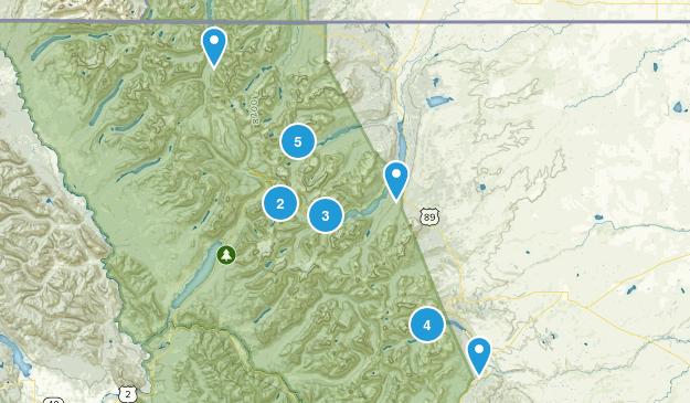 East Glacier Park, Montana Trail Running Map