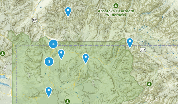 Gardiner, Montana Hiking Map