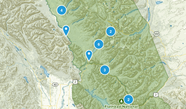 West Glacier, Montana Hiking Map