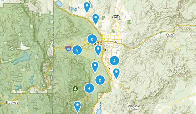 Reno, Nevada Trail Running Map