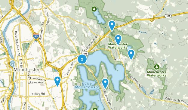 Auburn, New Hampshire Dogs On Leash Map