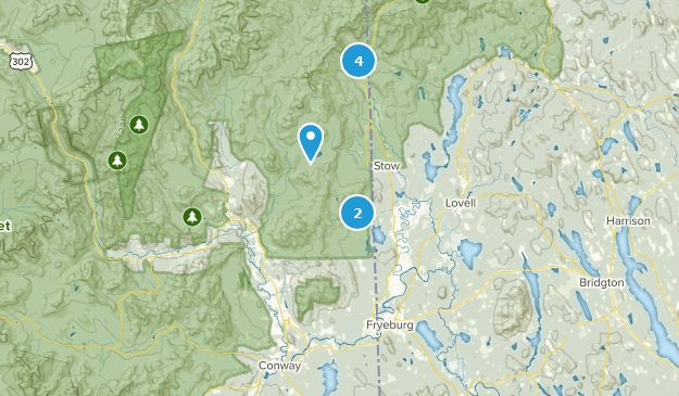Center Conway, New Hampshire Hiking Map