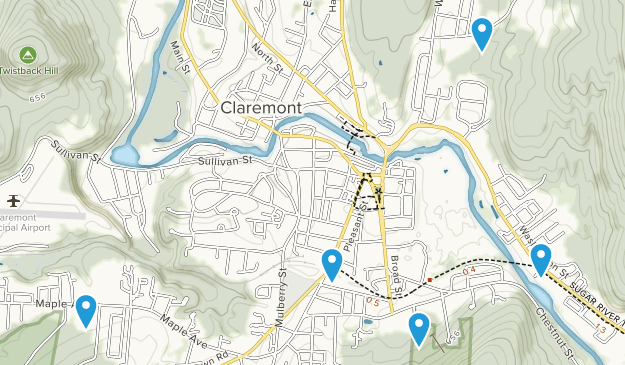Claremont, New Hampshire Cross Country Skiing Map