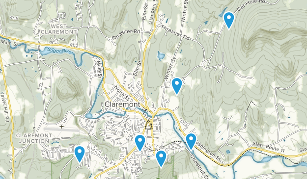 Claremont, New Hampshire Hiking Map