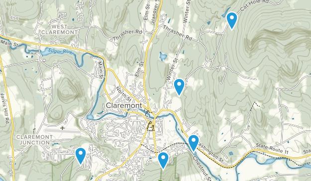 Claremont, New Hampshire Mountain Biking Map