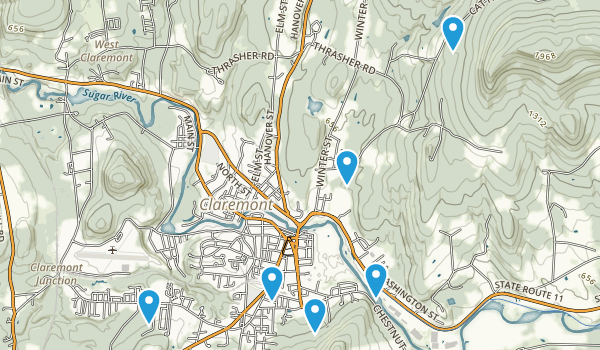 Claremont, New Hampshire Trail Running Map