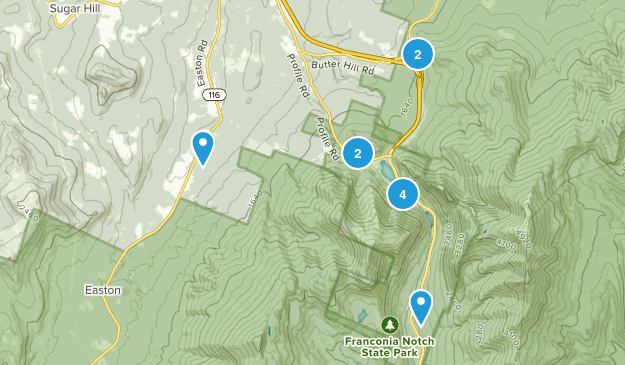 Franconia, New Hampshire Nature Trips Map