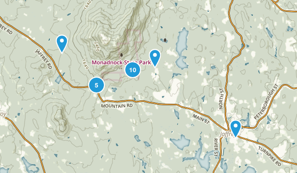 Jaffrey, New Hampshire Hiking Map