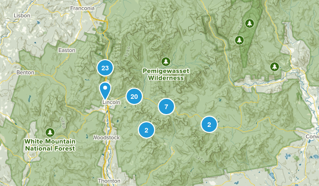 Lincoln, New Hampshire Hiking Map