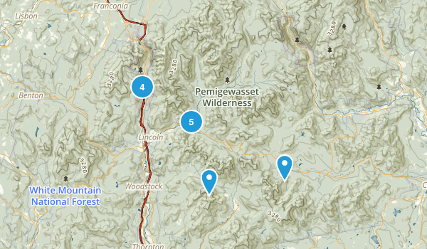 Lincoln, New Hampshire Trail Running Map