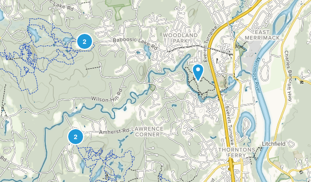 Merrimack, New Hampshire Hiking Map