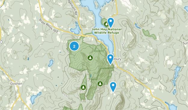 Newbury, New Hampshire Hiking Map