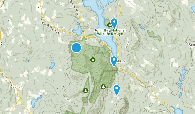 Newbury, New Hampshire Hiking Map