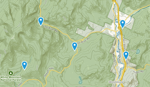 North Woodstock, New Hampshire Dogs On Leash Map