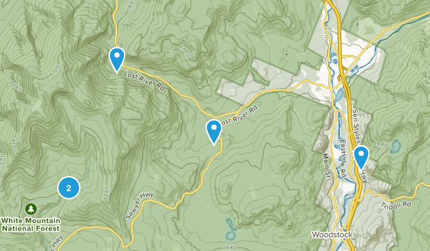 North Woodstock, New Hampshire Trail Running Map