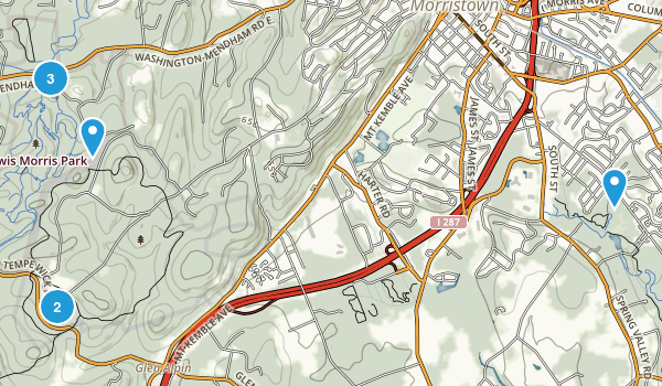 Morristown, New Jersey Hiking Map