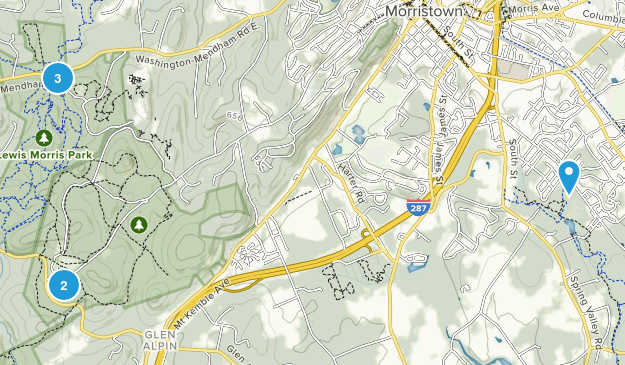Morristown, New Jersey Nature Trips Map