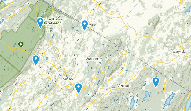 Sussex, New Jersey Hiking Map