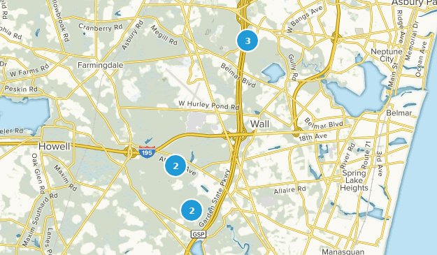 Wall, New Jersey Hiking Map