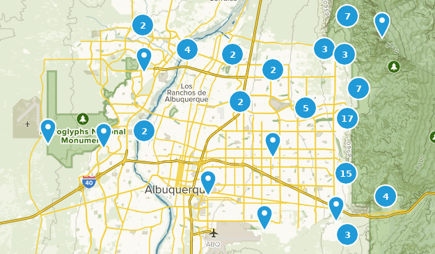 Map of Trails near Albuquerque, New Mexico   AllTrails