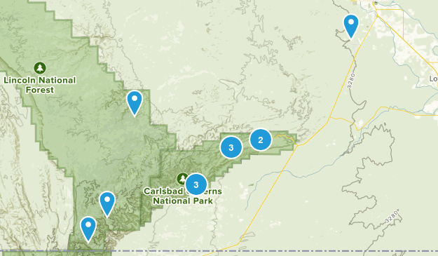 Carlsbad, New Mexico Hiking Map