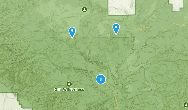 Gila Hot Springs, New Mexico Hiking Map