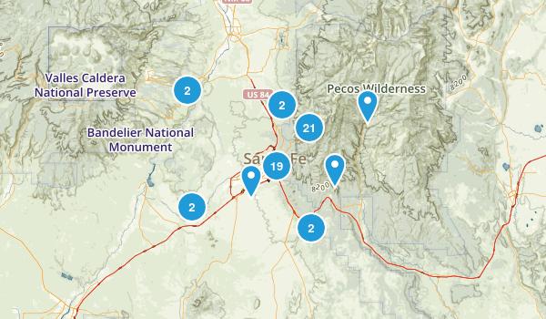Santa Fe, New Mexico Hiking Map