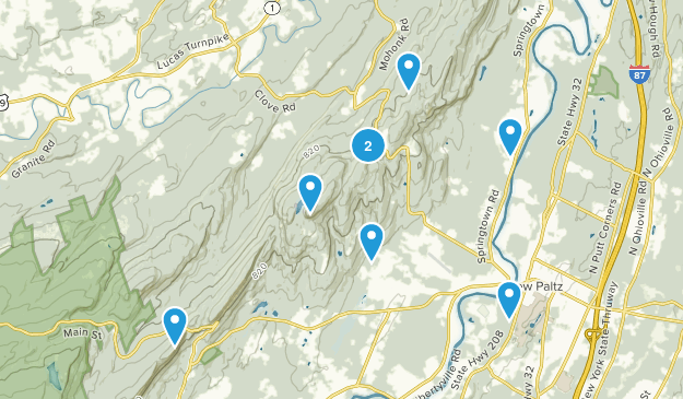 New Paltz, New York Dogs On Leash Map