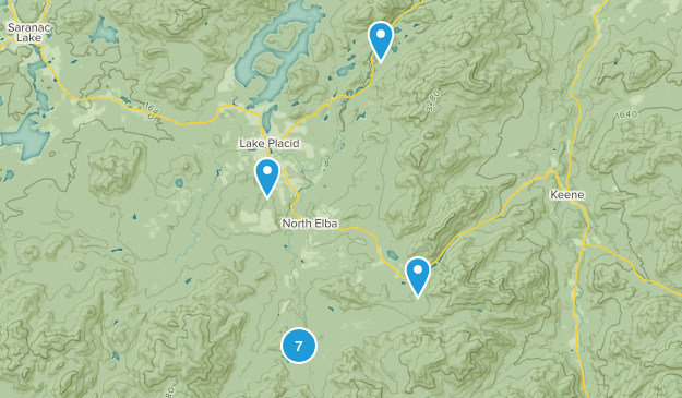 North Elba, New York Hiking Map