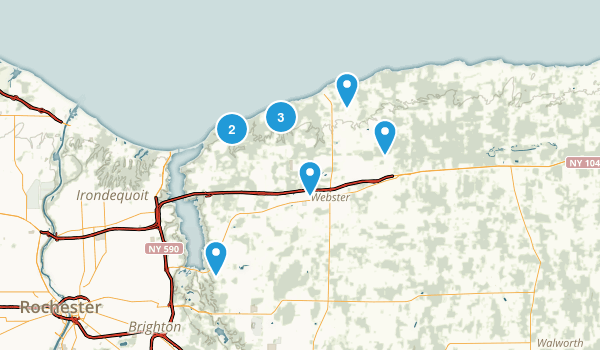 Webster, New York Dogs On Leash Map