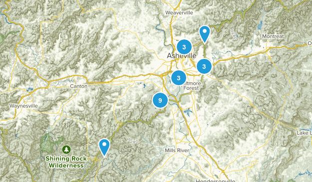 Asheville, North Carolina Trail Running Map