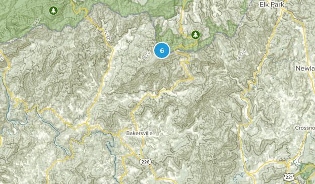 Bakersville, North Carolina Hiking Map