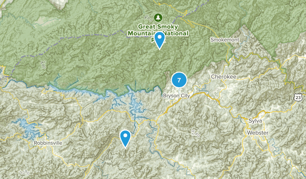 Bryson City, North Carolina Backpacking Map