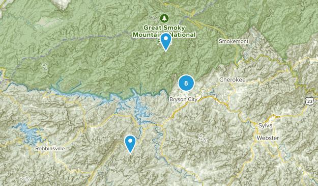 Bryson City, North Carolina Camping Map