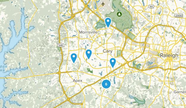 Cary, North Carolina Hiking Map