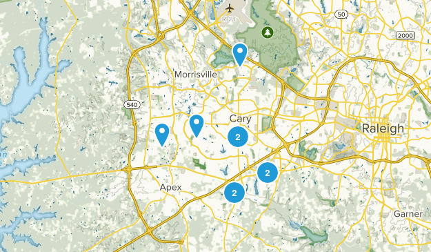 Cary, North Carolina Road Biking Map