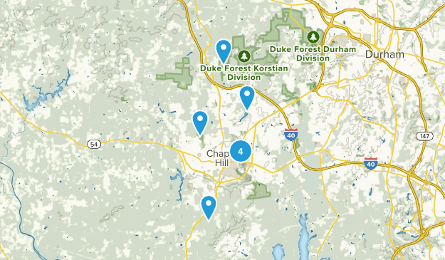 Chapel Hill, North Carolina Dogs On Leash Map