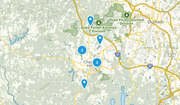 Chapel Hill, North Carolina Nature Trips Map