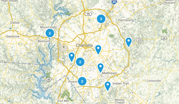 Charlotte, North Carolina Mountain Biking Map