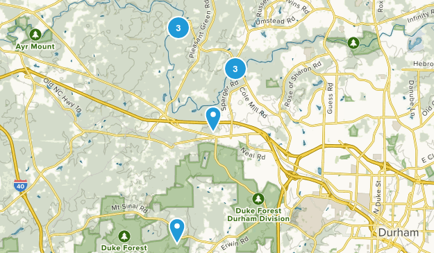 Durham, North Carolina Camping Map
