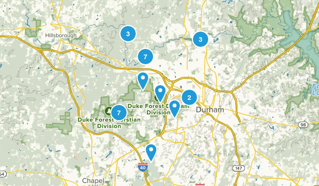 Durham, North Carolina Dogs On Leash Map