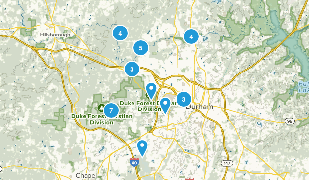 Durham, North Carolina Hiking Map