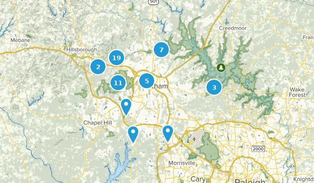 Durham, North Carolina Hiking Map