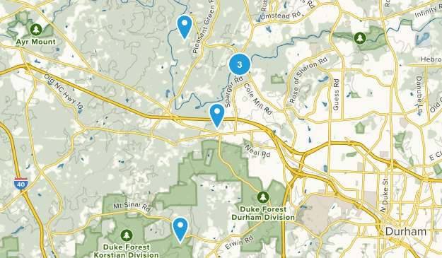 Durham, North Carolina Paddle Sports Map