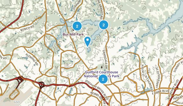 Greensboro, North Carolina Mountain Biking Map