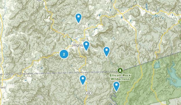 Highlands, North Carolina Trail Running Map