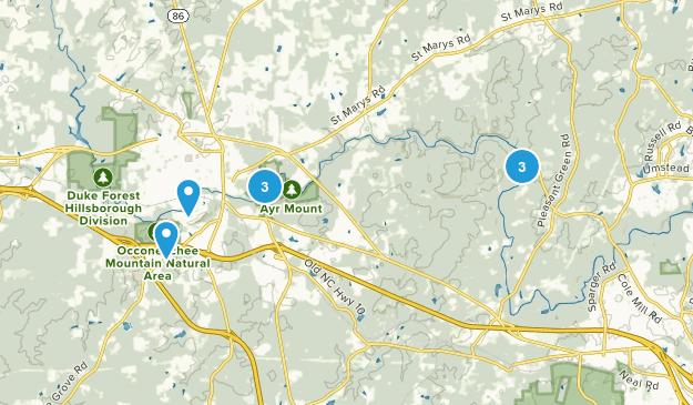 Hillsborough, North Carolina Trail Running Map