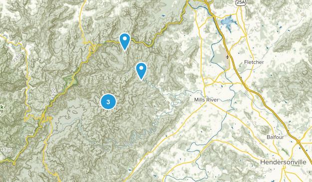 Horse Shoe, North Carolina Hiking Map