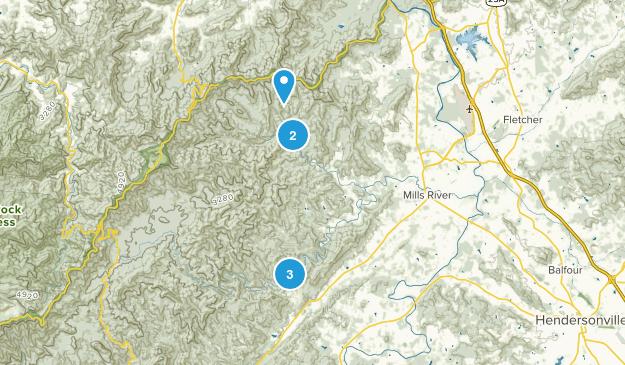 Mills River, North Carolina Hiking Map